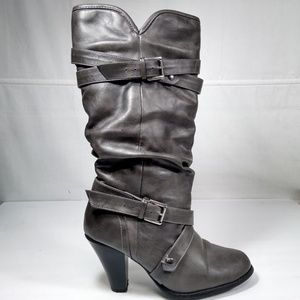 RAMPAGE Gray High Heel Tall Boots Size 9.5M